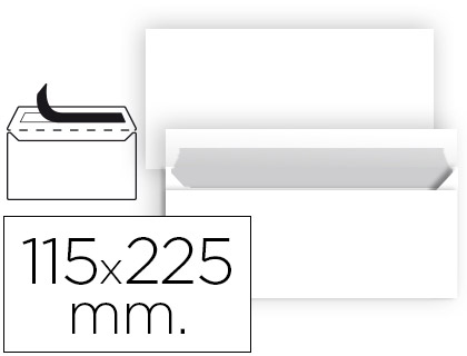 25 sobres Liderpapel 115x225mm. offset blanco 90g/m²